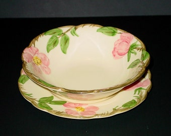 Franciscan Desert Rose Bread & Butter Plate and Coupe Cereal Bowl California USA