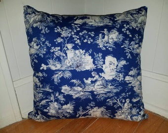 18 x 18 Blue Toile Pillow Cover
