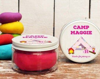 Set of 6 -  Girl Camp Party Favors // Camp Themed Birthday Birthday // Play Dough Party Favors // Campout Party Favors // Camping Logo