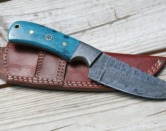 Damascus Fixed blade knife with turquoise  bone handle