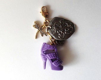 Purple doll shoe dragonfly purse jewelry zipper charm with designer signature fobs in USA, grey and purple, cute bouquet charm, doll shoe