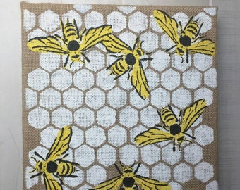 Buzzing bees on honeycomb