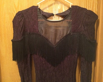 1980's Lace and Fringe Dress