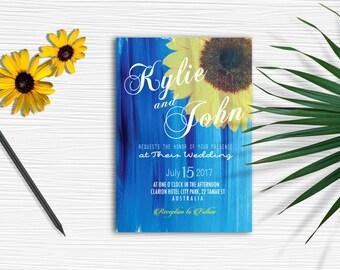 "5"" x 7"" Blue, Sunflower, Romantic Wedding invitation"