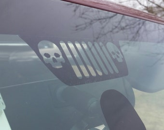 Jeep Grille logo with skulls decal for windshield