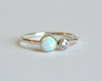 Sterling Silver Opal Ring. Opal Gemstone Ring, White Opal Ring, Stacking Ring, Opal Stackable Ring, Dainty Opal Ring, Two Gemstone Ring