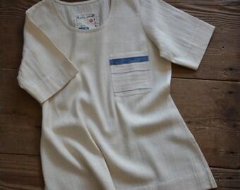 Hand-spun and handwoven khadi top , khadi tee-shirt , khadi fabric , handloom cotton , unbleached , organic cotton , khadi garment ,