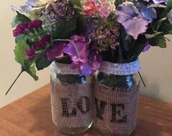 LOVE Mason Jar Vase Set
