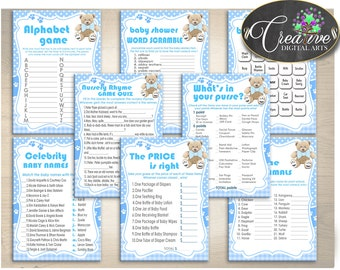 Baby Shower Games Printable, Baby Shower Games Teddy Bear, Baby Shower Teddy Bear Games, Teddy Bear Baby Shower Games Boy - tb001