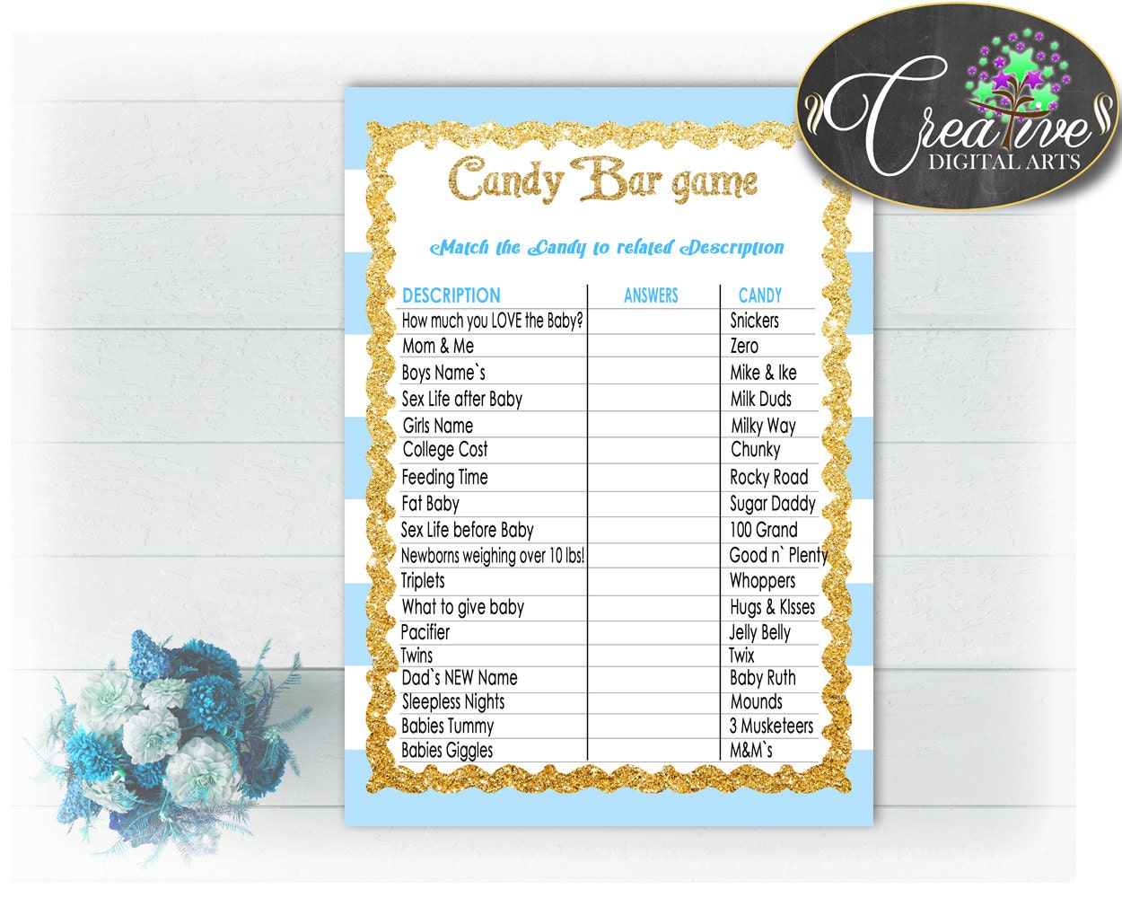 candy bar printable baby shower game with by creativedigitaiarts