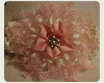 Pink and white frilly flower headband