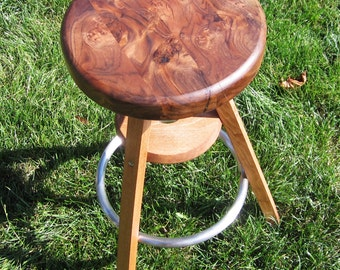 Upcycled Ikea-Style Stool With Claro Walnut Burl Top