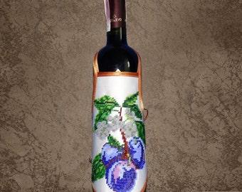 "Wine Bottle Apron ""Plum branch""/ Bottle apron embroidered/ Bottle decoration/ Table setting accessory"
