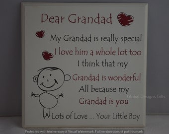 Sentiment Plaque Dear Grandad  My Grandad is Very Special I Love Him From Your Little Boy F1105D
