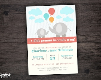 Elephant Baby Shower Invitation - A Little Peanut Is On Its Way!