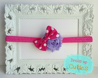 Purple shabby flower headband with pink and white polka dot bow