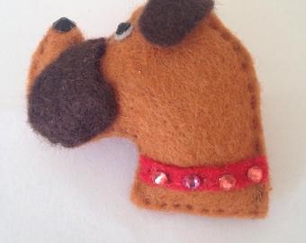 Boxer dog Brooch with Swarowski Crystals.