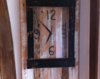 Wooden wall clock, reclaimed timber, rustic, wall hanging