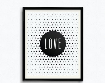 Abstract Love Print, Be Bold, Peace, Dream, Inspire, Printable, Digital Print, Instant Download, Modern Home Decor, Black and White - (D053)