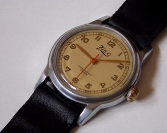 Unique,serviced,incredible, beautiful perfect watch,1940s,military style,gold-plated,big crown