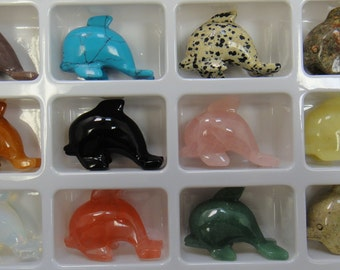Gorgeous! All Natural Gemstone Dolphins Set of 12