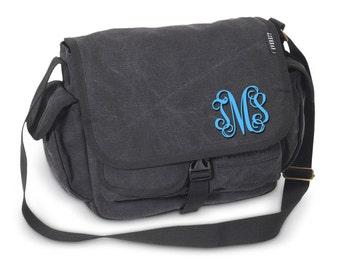 Messenger Bag - Monogram Messenger Bag - Monogram Tote - Charcoal Messenger Bag - Small Messenger bag