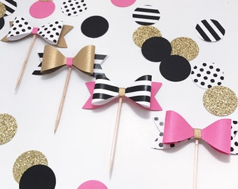 Set - 4 Bow Cupcake Toppers, Bridal Shower, Spade Party Cupcake Topper, Paris Party Topper, Wedding Topper, Bachelorette Party, Baby Shower