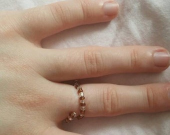 Brown and Clear Bead Wraparound Ring