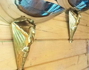 A Pair of Art Deco Chrome & Brass Uplighter Wall Lights