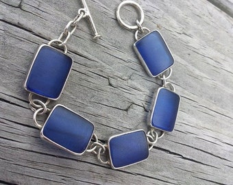 Cobalt Sea Glass Sterling Bracelet