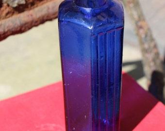 Small, Cobalt blue, Chemist bottle, Poison Bottle, Antique Apothecary, Medicine Bottle, Glass Bottle, Not To Be Taken