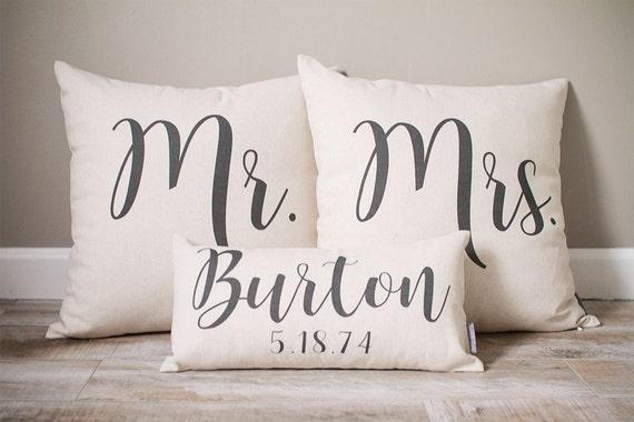 Mr And Mrs Pillow Sets 3 Wedding Pillows Set Custom