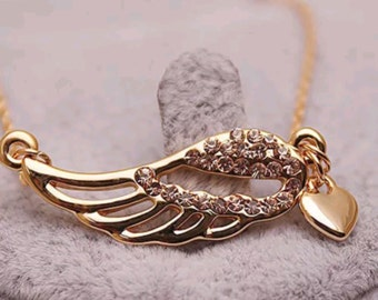 Angel Wing Rose Gold Plated Opal Crystal Pendant Necklace