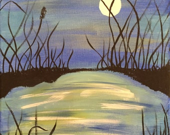 11X14 Midnight Pond Acrylic Painting