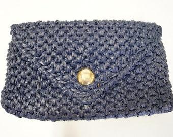 Vintage Navy Woven Clutch/Purse/Handbag