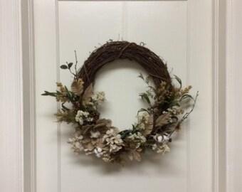 Sale! - Natural Grapevine Wreath - Fall Wreath - Burlap Flower Wreath - White Flower Wreath - Fall Greenery Wreath - Cotton Ball Wreath
