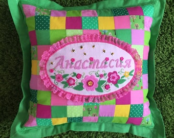 Pillow with handemade embroidery of your name