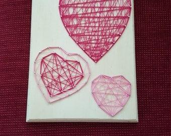 Hearts nail string art