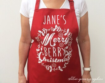 Merry Berry Christmas Personalised Apron