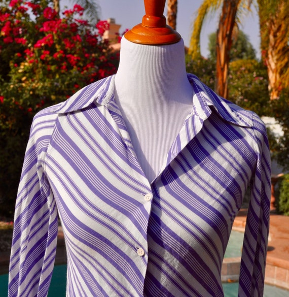 agnes b. French Striped Button Shirt Blouse SZ EU34 US4