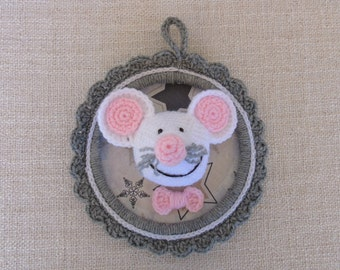 """""""My little mouse who laughs"""" trophy, decorative frame for child's room"""