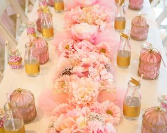 Pink Flower Tulle Runner