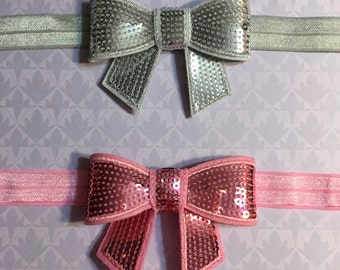 Sequin Bow Headband in pink or silver