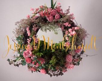 NEWBORN DIGITAL BACKDROP: Pink Floral Hanging Wreath