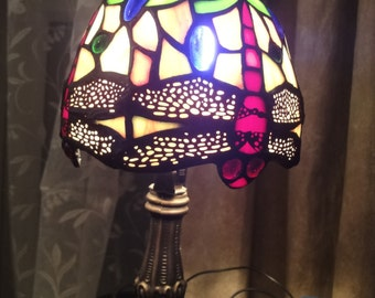 Tiffany Style Lamp in beautiful colours with brass stem   height =34cm   (220/240v)