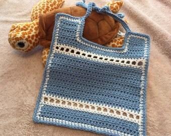 Blue Eyelet Baby Bib