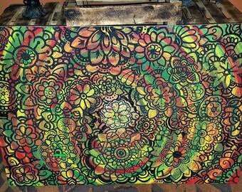 rasta mandala 24x36 painting
