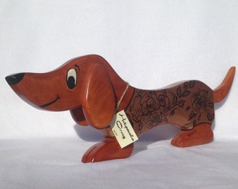 Wooden Dog Statue, Wooden Dog Figurine, Wood Carving