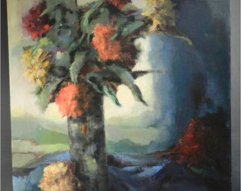 unusual expressionistic colorful still life painting of a vase of flowers / mums