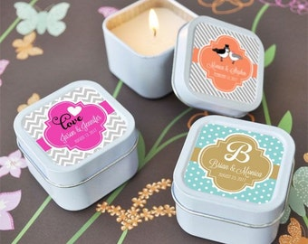 Personalized square themed candle tins-candle favors, wedding candle favors, bridal shower favors, birthday favors, 50th birthday